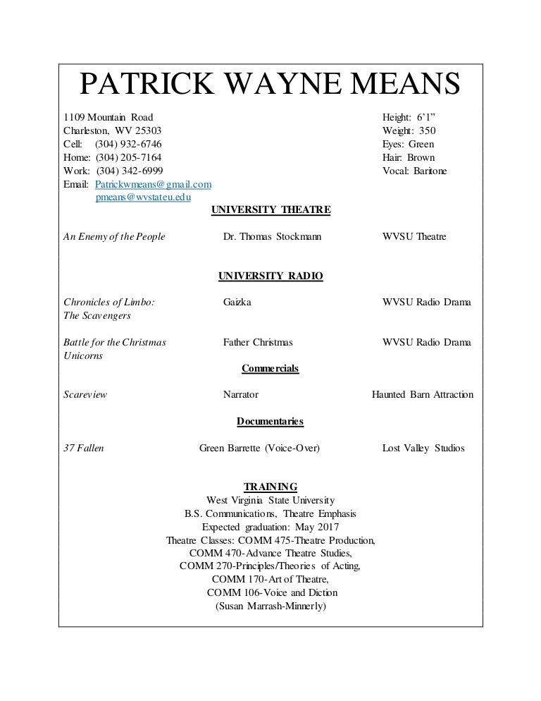 acting resume patrick means