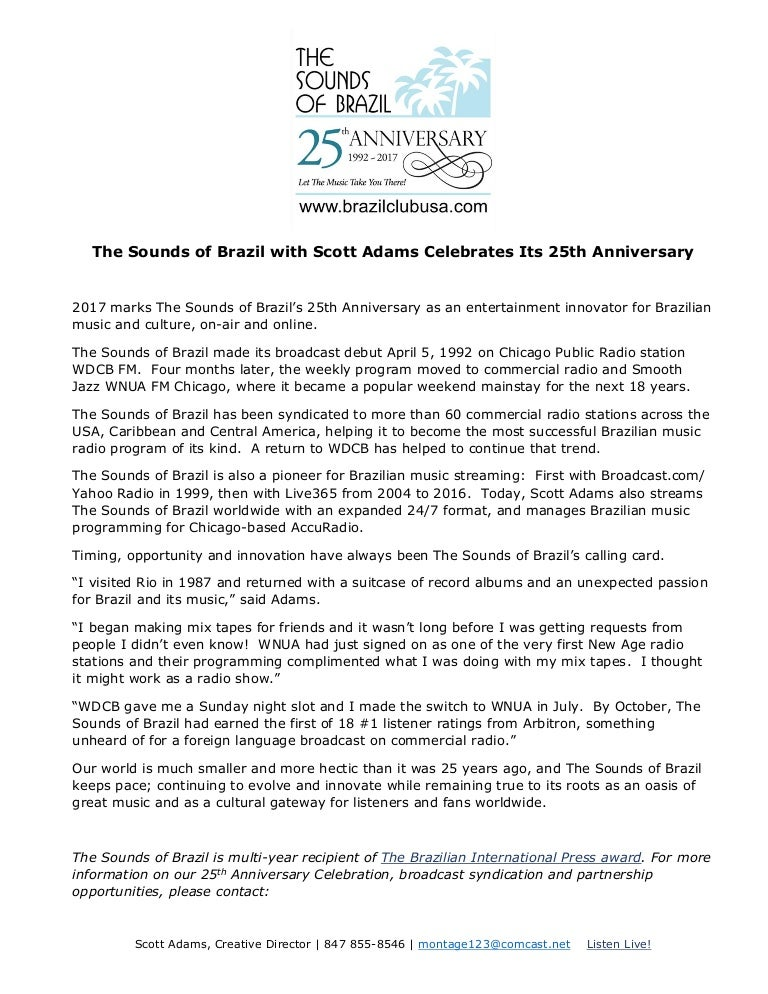 Press Release - The Sounds of Brazil's 25th Anniversary