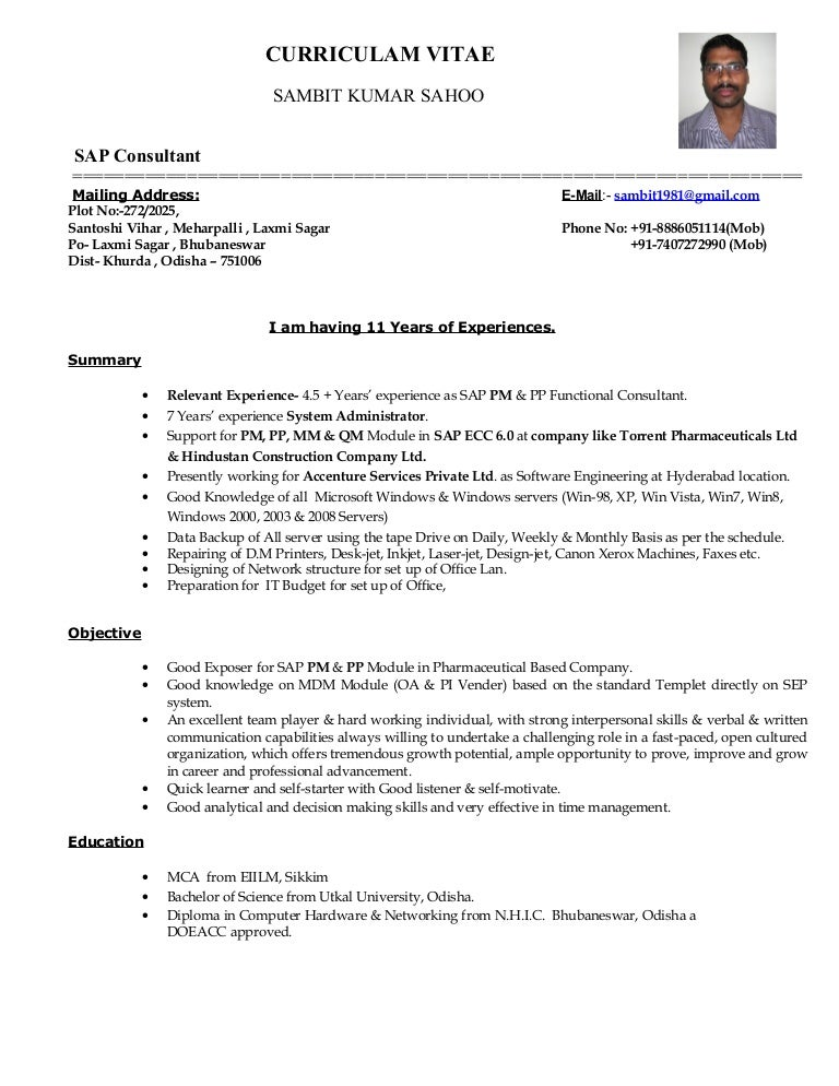sap pp functional consultant resume image collections resume