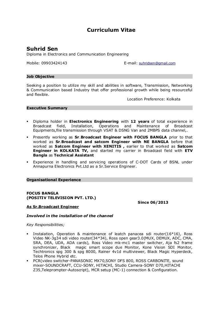 100 sample broadcast technician resume sound engineer - Broadcasting Engineer Resume
