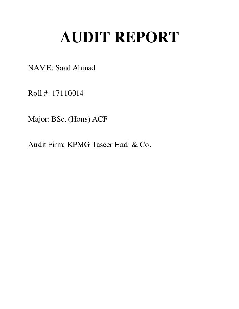 Kpmg Audit Report