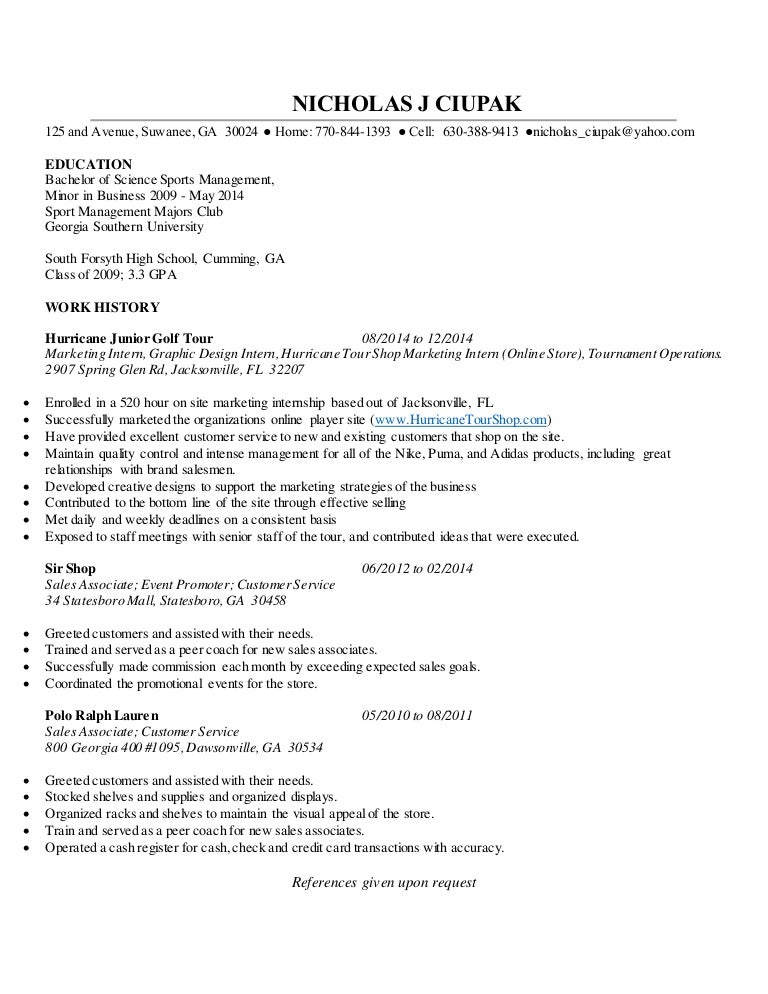 NICHOLAS J CIUPAK Resume without Cover Letter