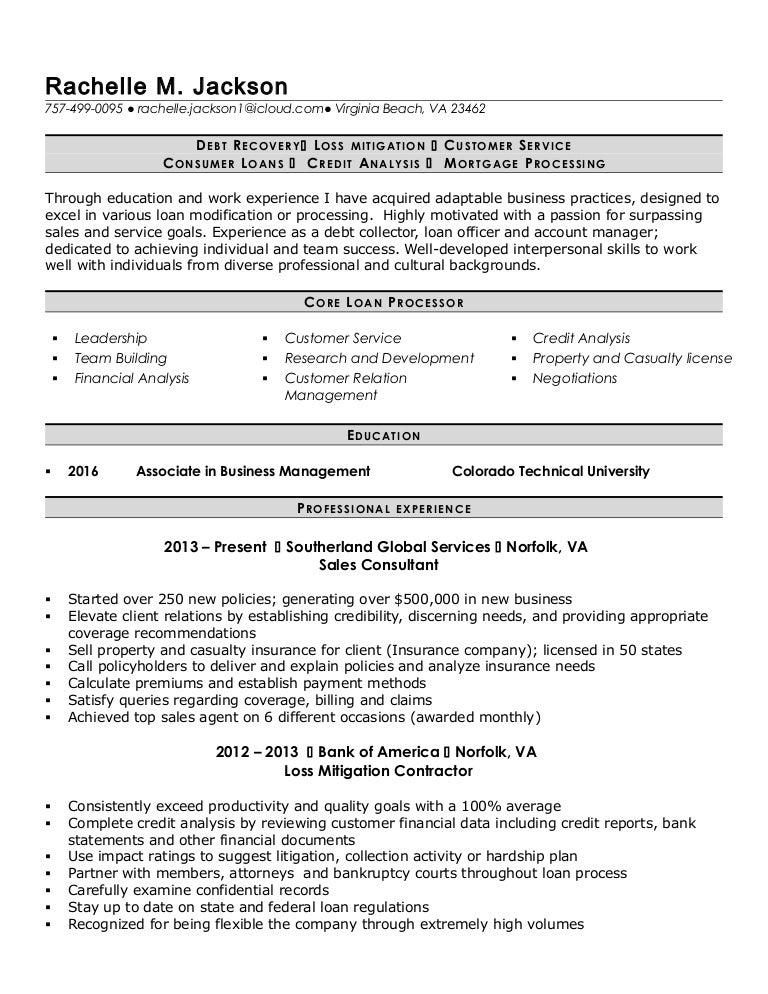 RJackson loan processor resume – Loan Processor Resume