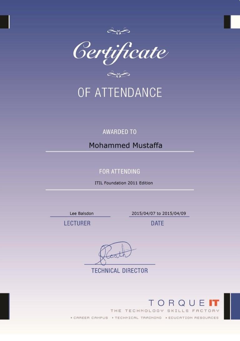 Itil foundation v3 attendance certificate xflitez Gallery