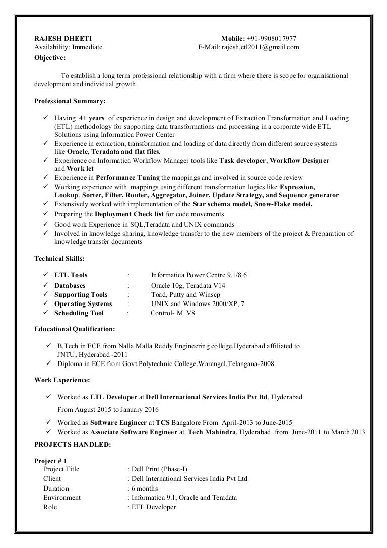 informatica sample resume etl informatica resume by informatica