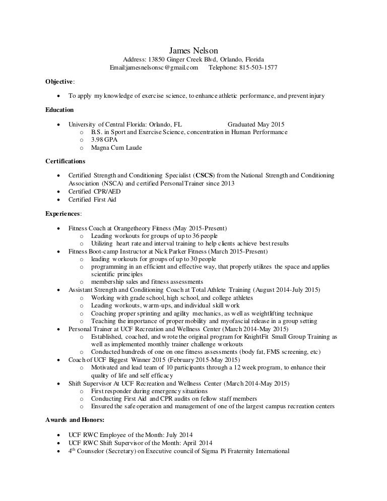 james nelson strength and conditioning resume