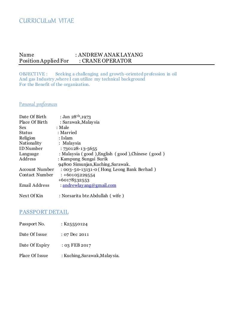 Andrew-CV Crane Operator