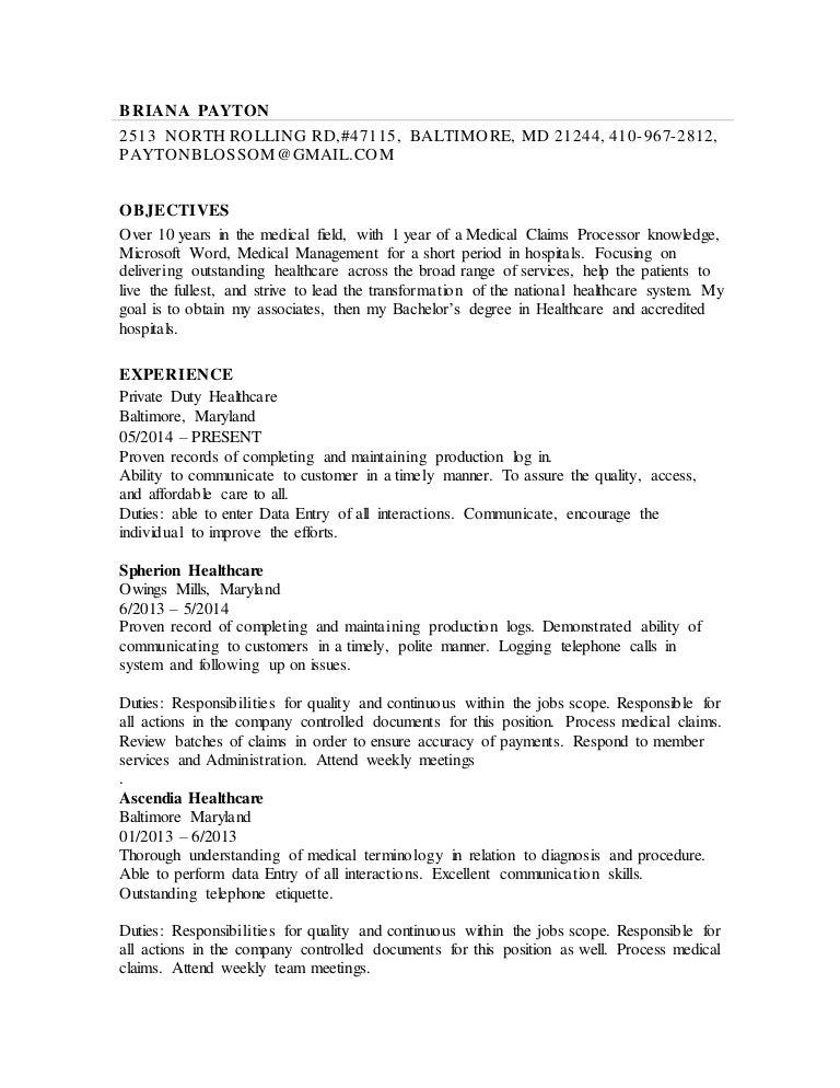 Resume for medical claims processor what is thesis statement