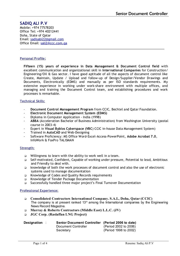 Sadiq-CV- Document Controller