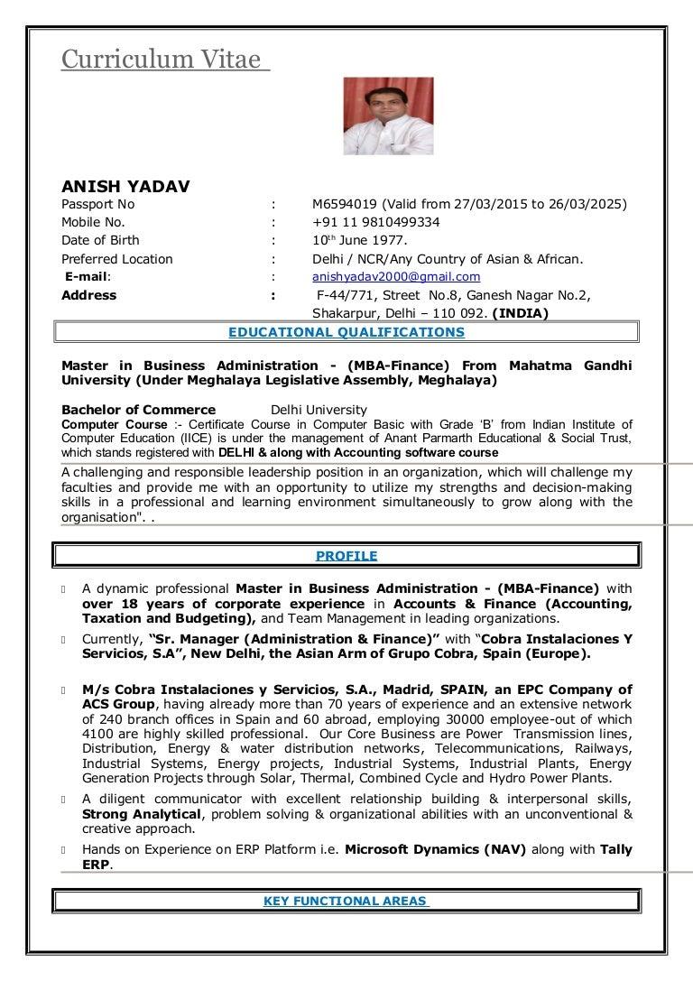 CV Manager Accounts, Finance, Taxation & Budgeting