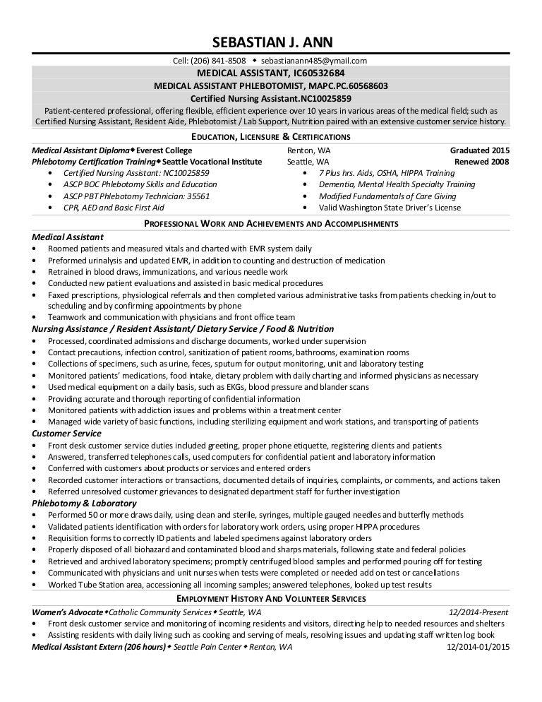 Medical Assistant Exstended Resume 2015