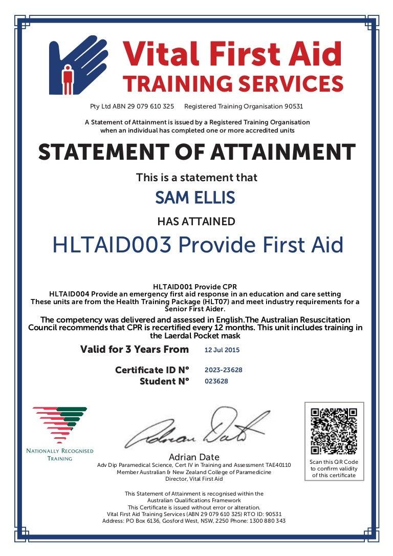 Sam ellis first aid cert xflitez Gallery