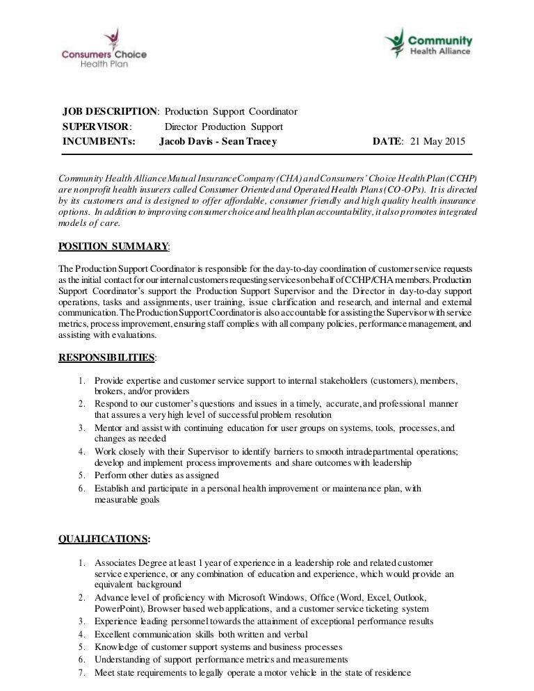 Production Job Description  Template
