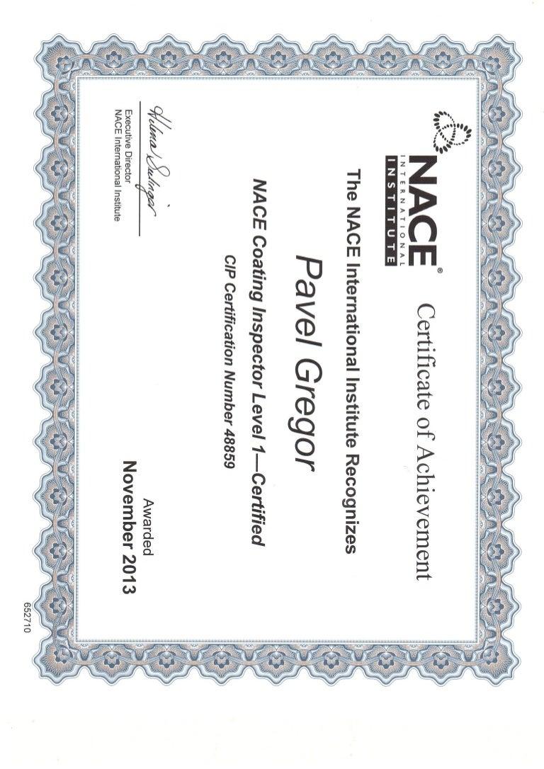 nace certificate level