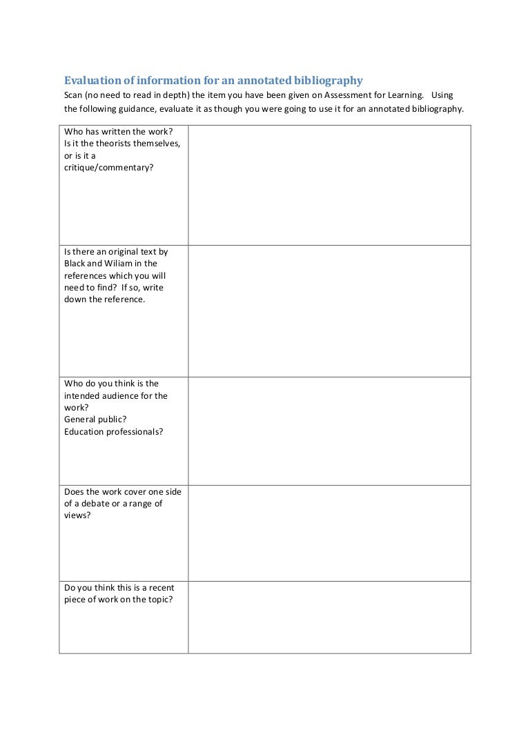 worksheet Annotated Bibliography Worksheet evaluation of information for an annotated bibliography worksheet
