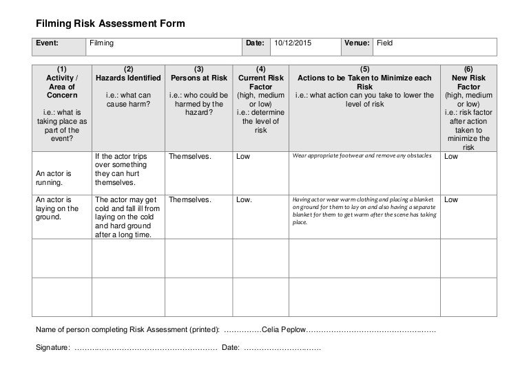 Risk Assessment Form Sample Risk Assessment Template Media Risk