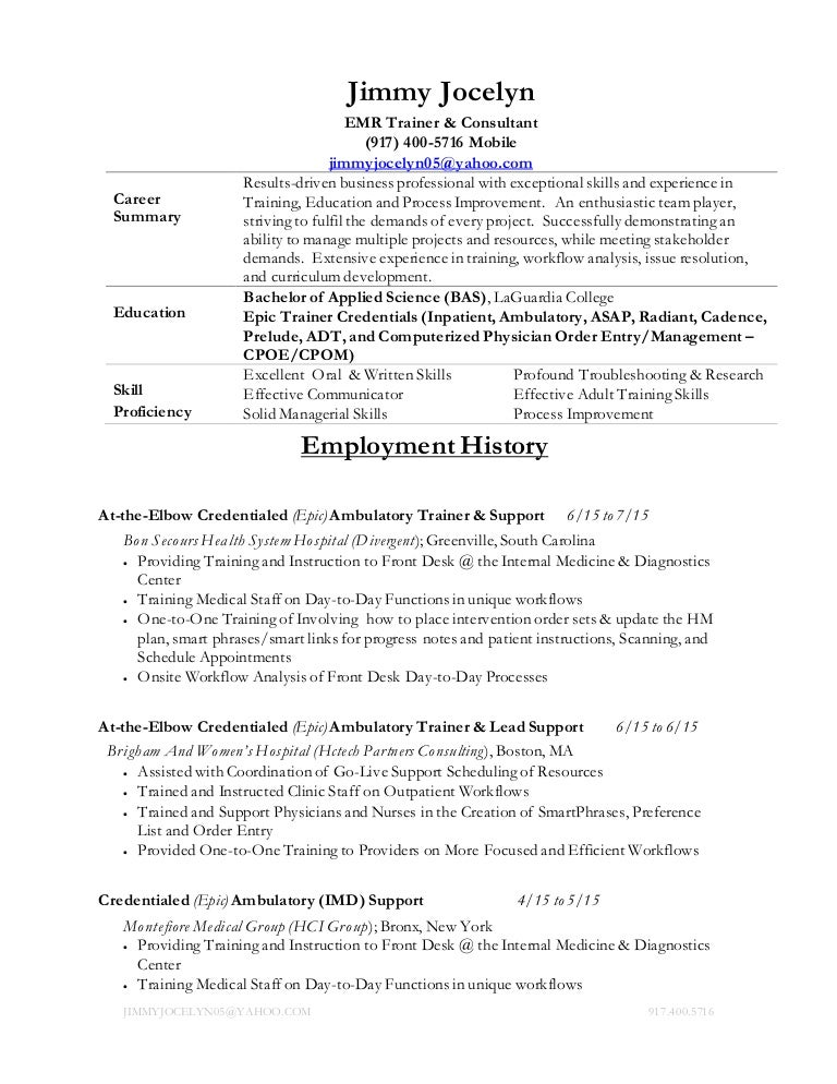 jimmy jocelyn resume - Epic Consultant