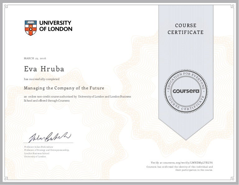 Managing the Company of the Future Certificate