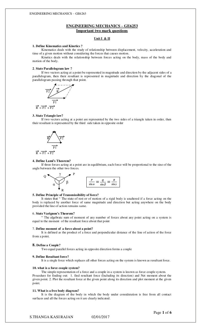 2 mark question engineering mechanics pooptronica Images
