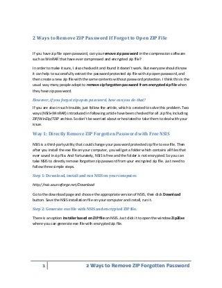 2 Ways to Remove ZIP Password If Forgot to Open ZIP File