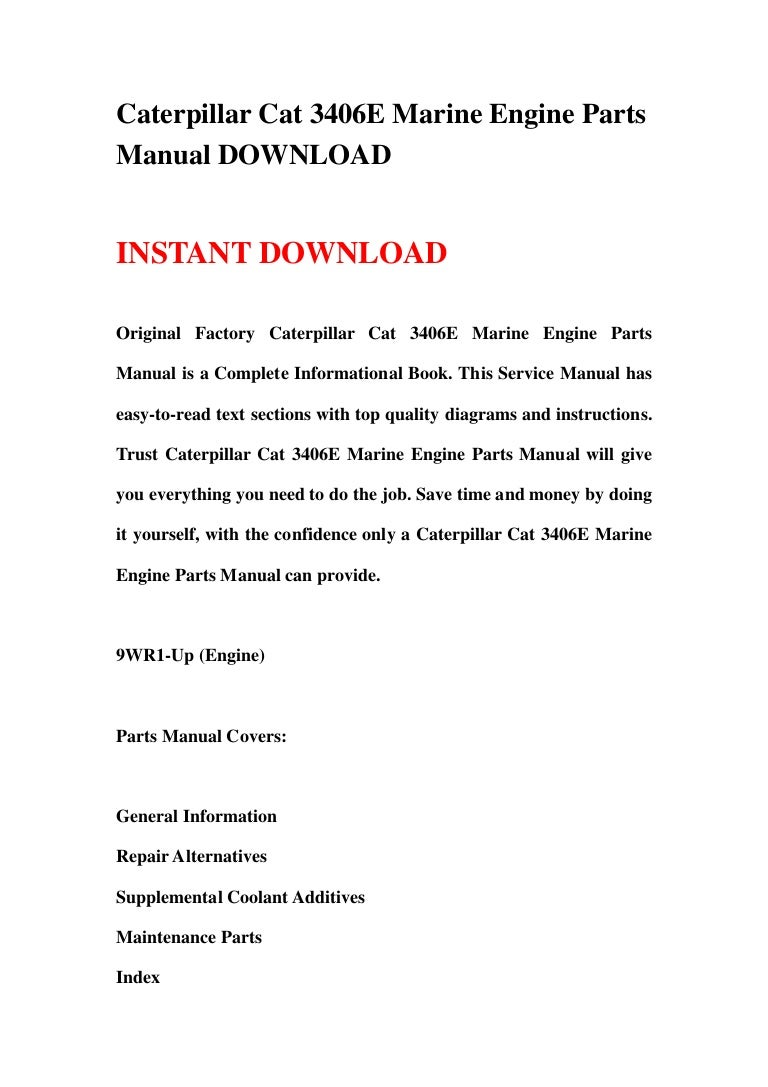 caterpillar cat 3406e marine engine parts manual
