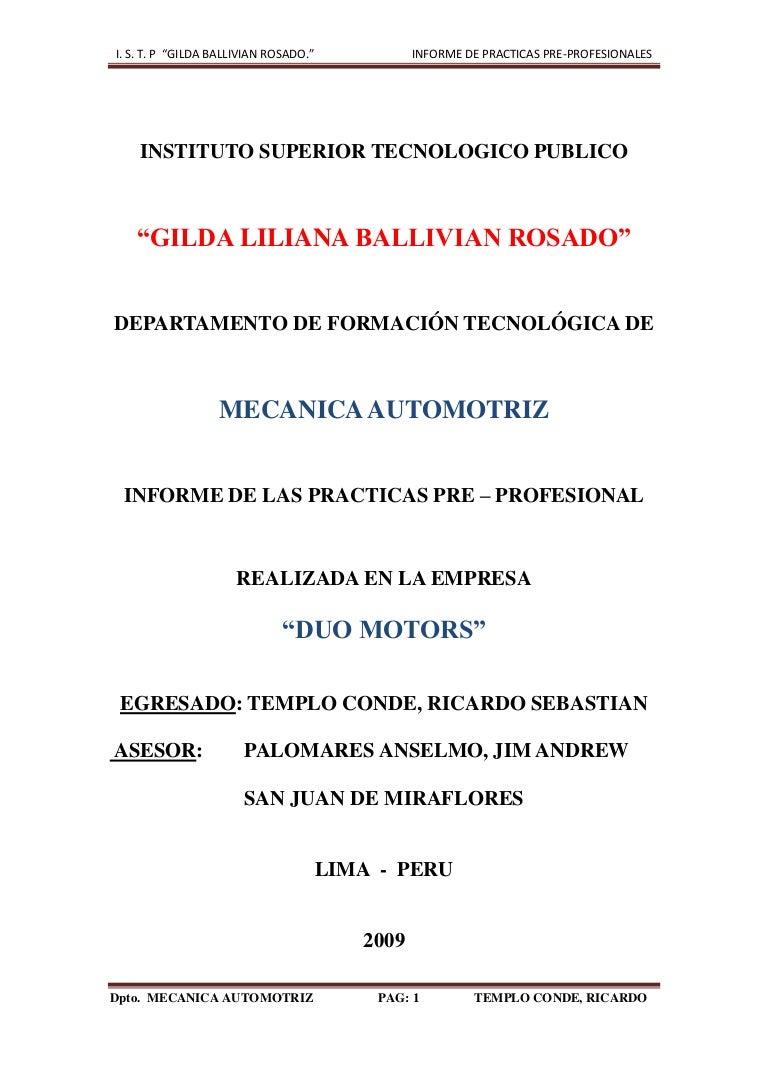 3 Informe De Mecanica Automotriz