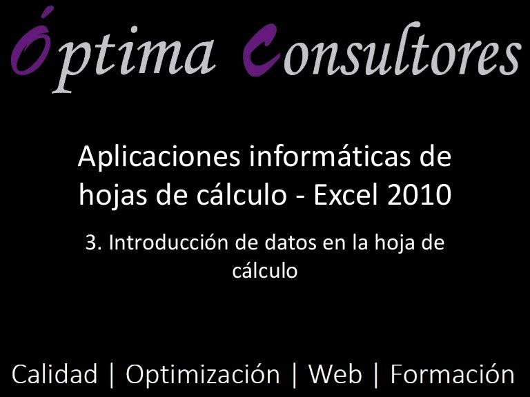 3. Introducción de datos en la hoja de cálculo