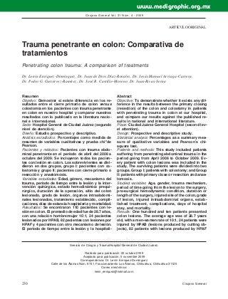 Trauma penetrante en colon: comparativa de tratamientos