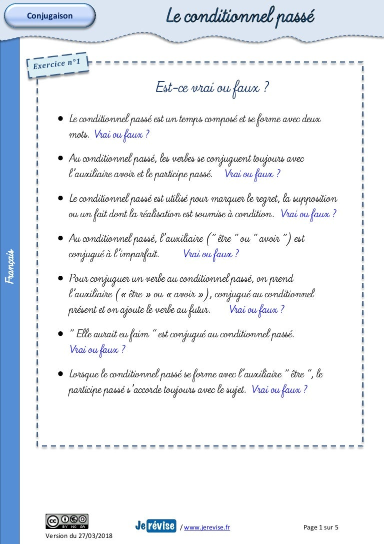 Exercices Conditionnel Passe