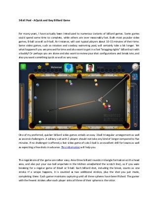 3 ball pool - a quick and easy billiard game