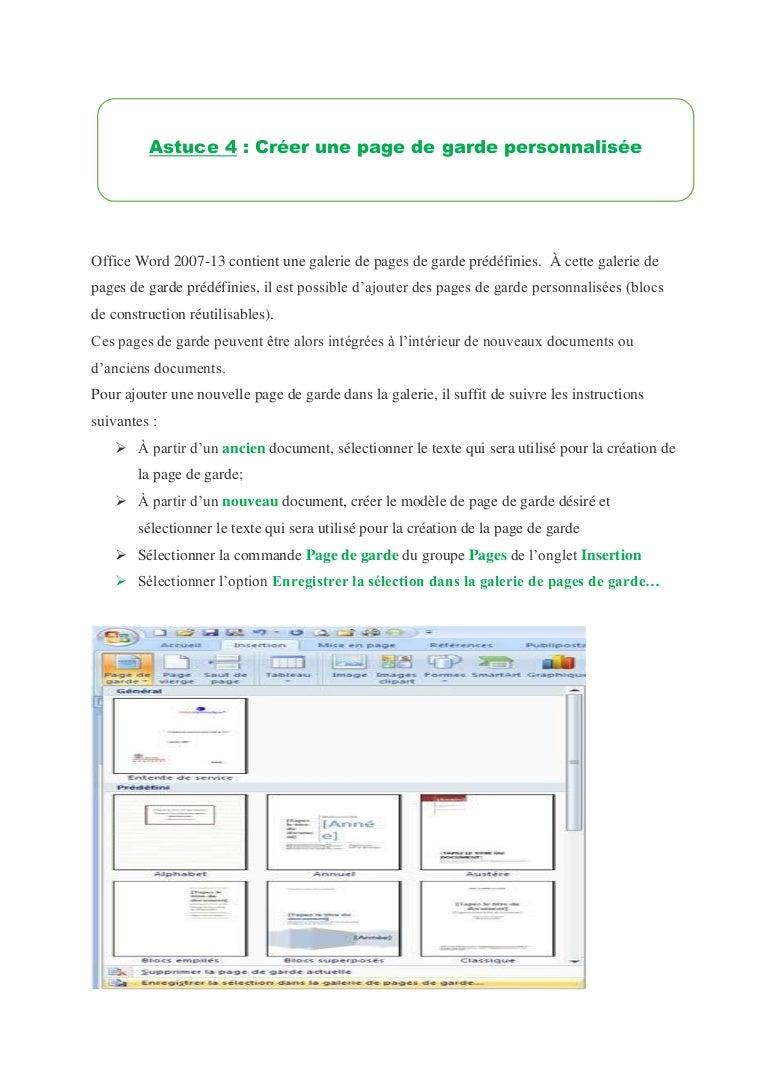 3 Créer Une Page De Garde Personnalisée Astuce Word