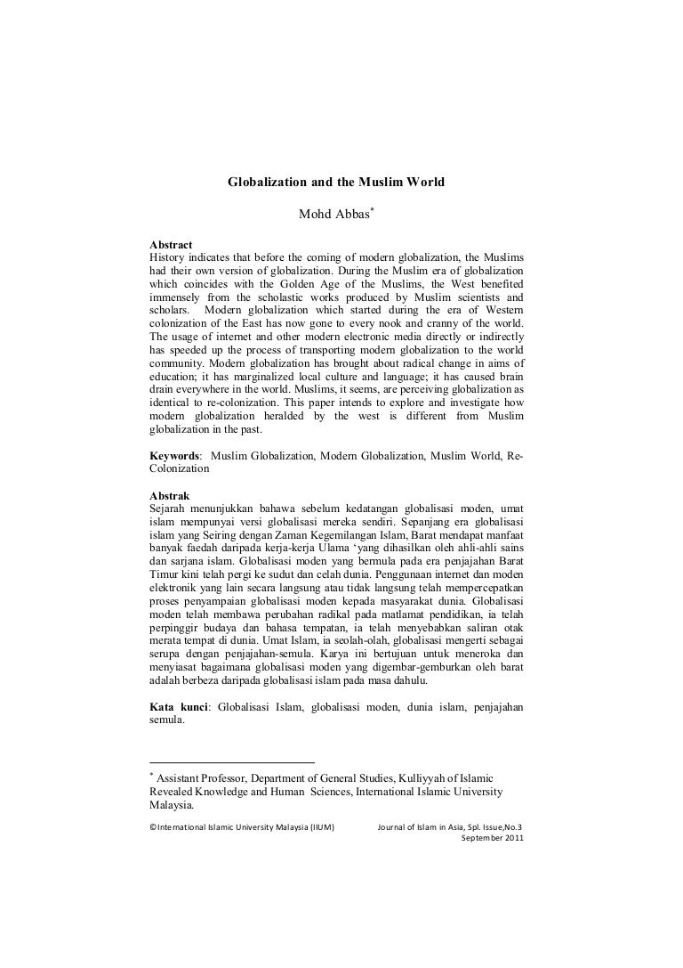 globalization and the muslim world journal paper