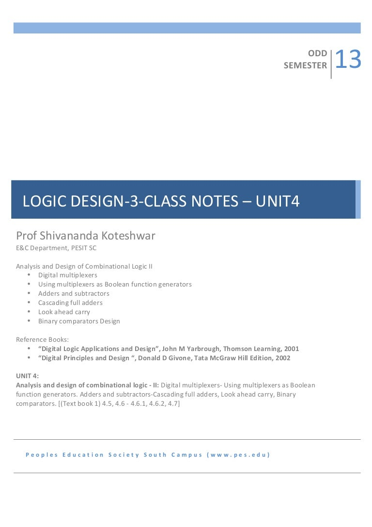 3sem Logic Design Notes Unit4 And Analysis Of Combinational L Thus A 1bit Full Adder Can Be Realized By The Following Circuit