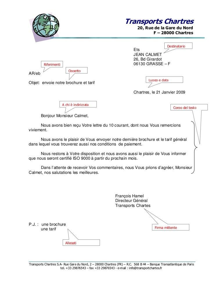 struttura di una lettera commerciale in francese