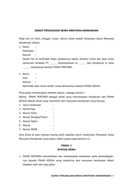 Contoh Surat Perjanjian Sewa Bus Pariwisata Contoh Seputar Surat