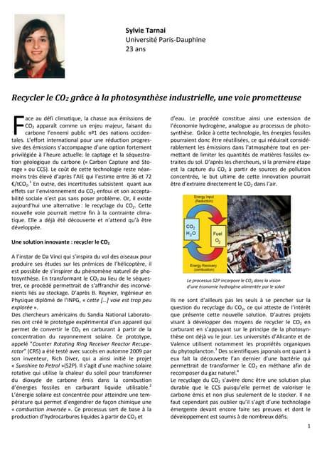 Recycler le CO2 grâce à la photosynthèse industrielle, une voie prometteuse (Sylvie Tarnai)