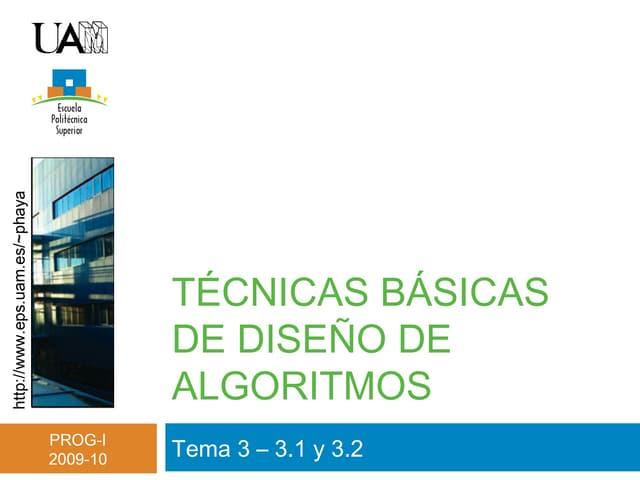 Tema 3 - Técnicas básicas de diseño de algoritmos