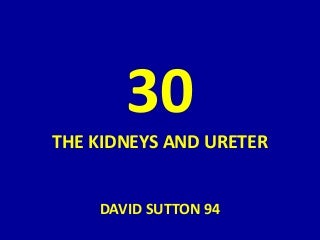 30 DAVID SUTTON PICTURES THE KIDNEY AND URETERS