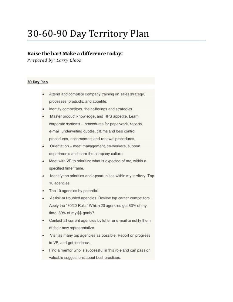 Larrys 306090 Day Territory Plan – Sample Territory Sales Plan