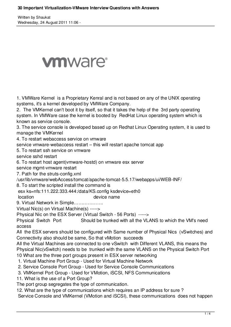 important virtualization vmware interview questions answers
