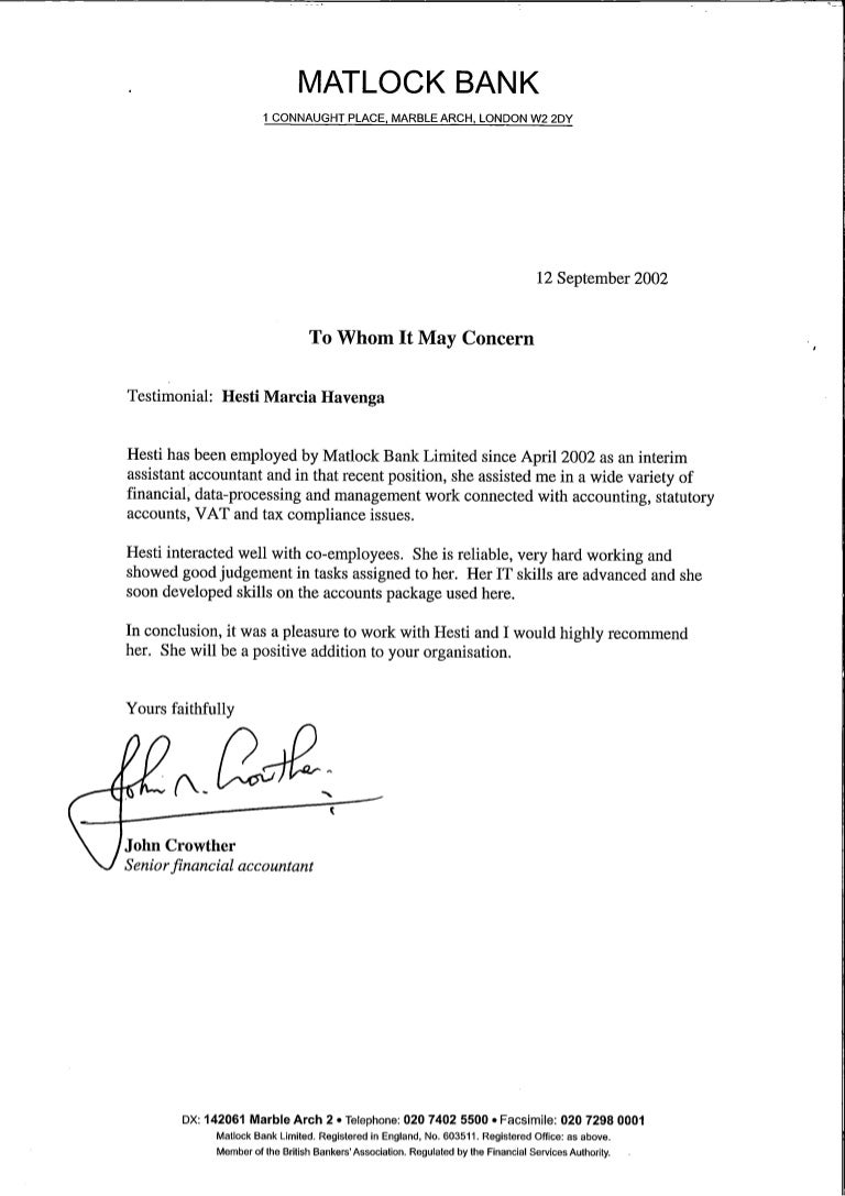 Bank Reference Letter Expense Template