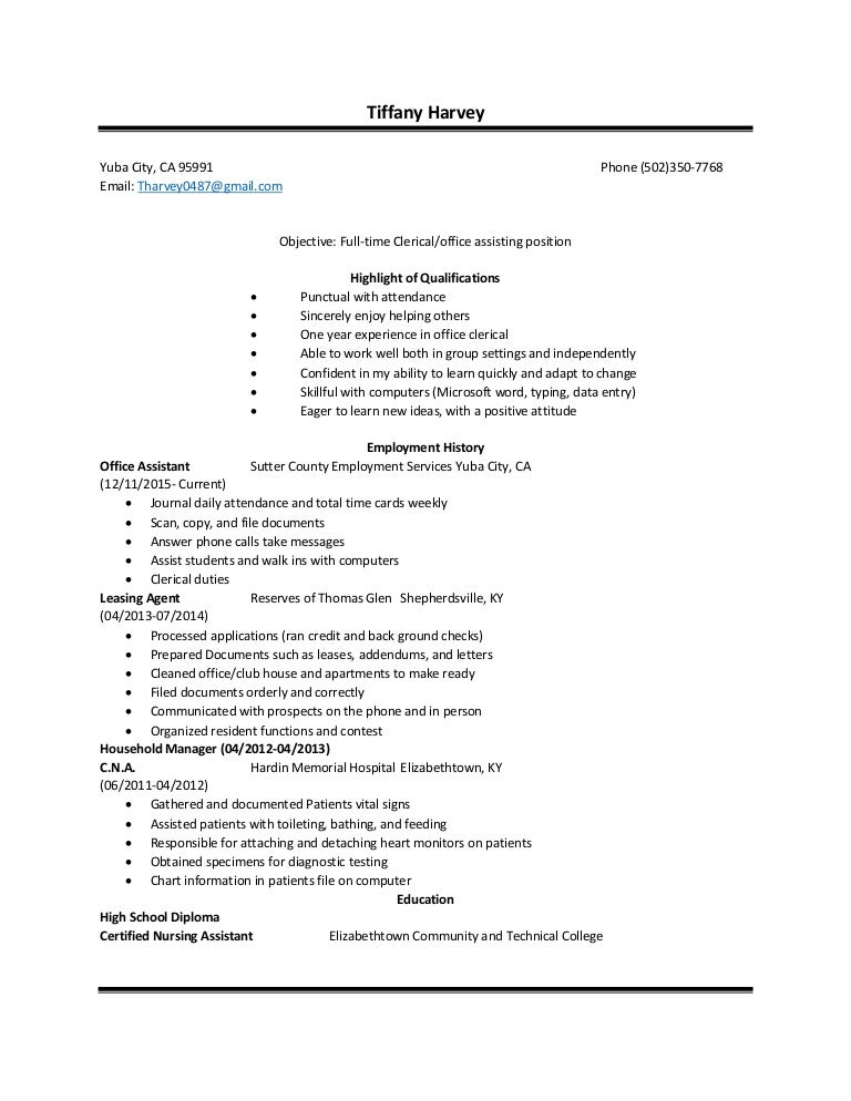 tiffany harvey resume