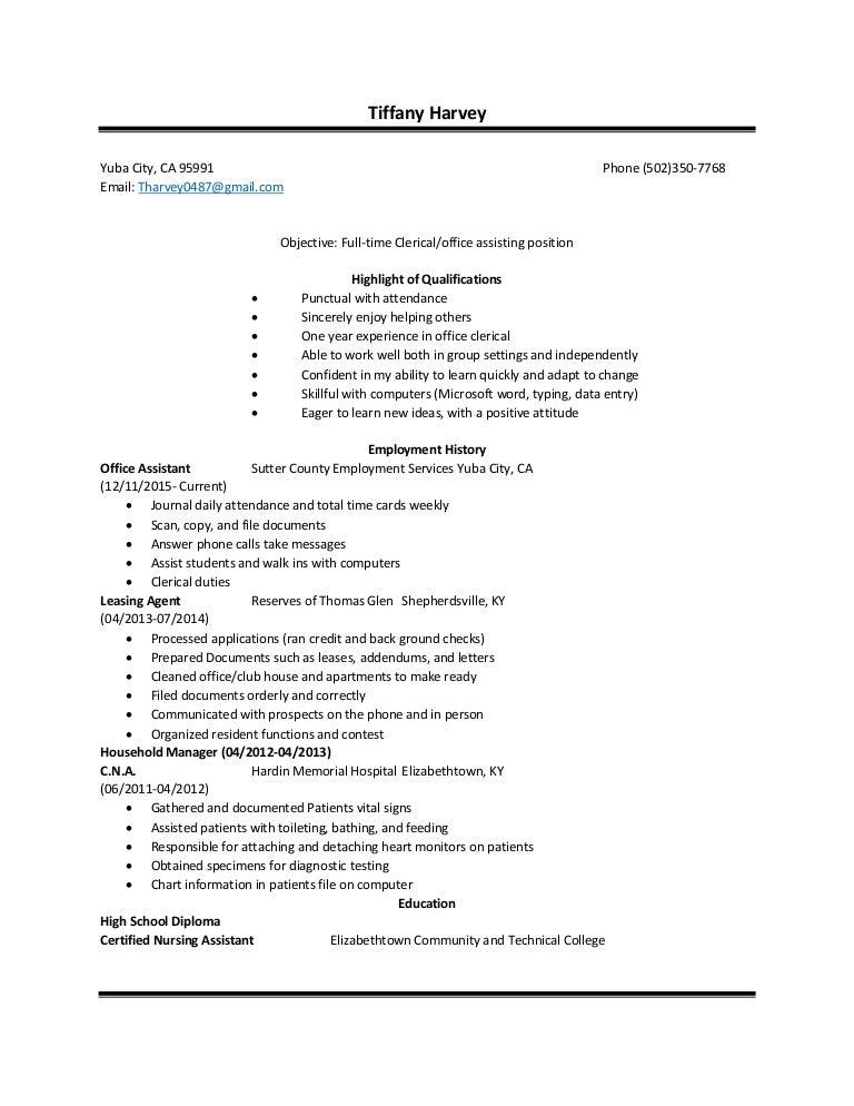 tiffany harvey resume