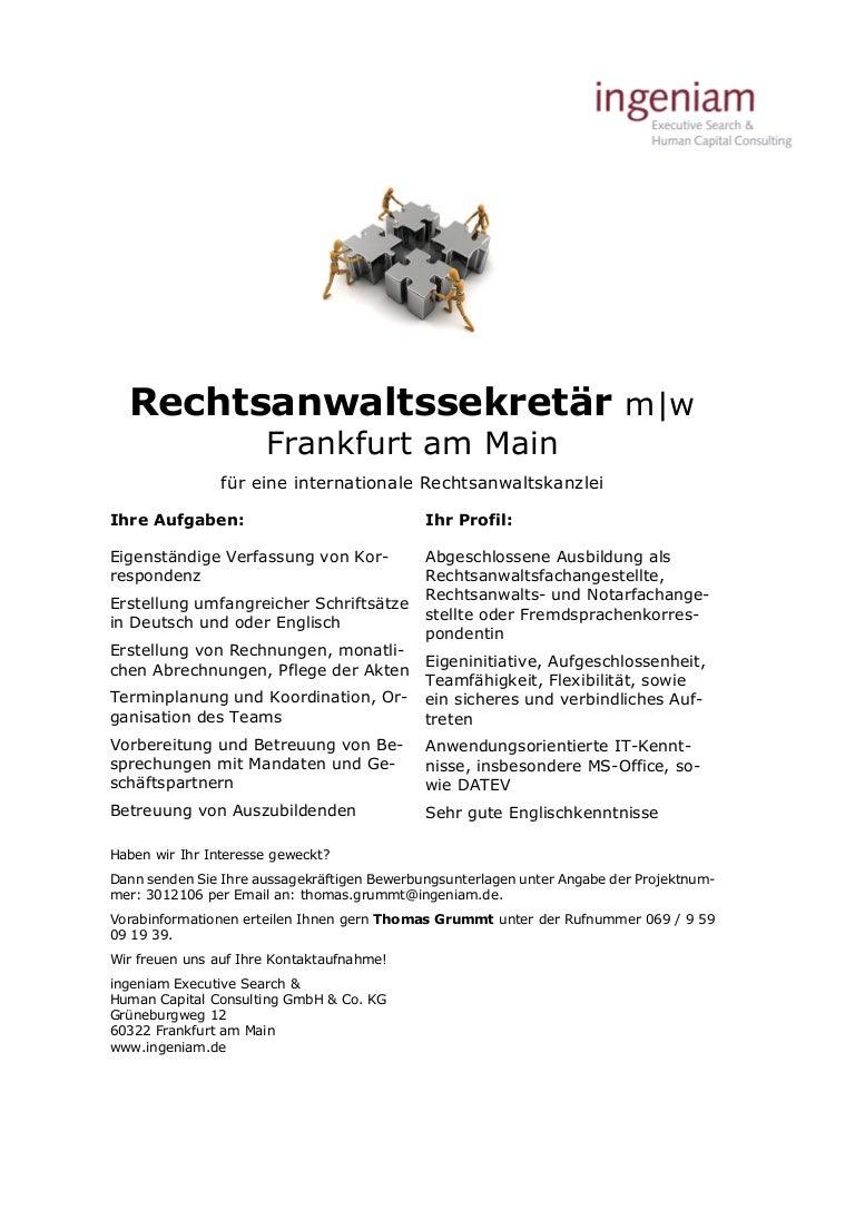 Rechtsanwaltssekretär Mw Frankfurt Am Main Für Eine Internationale R