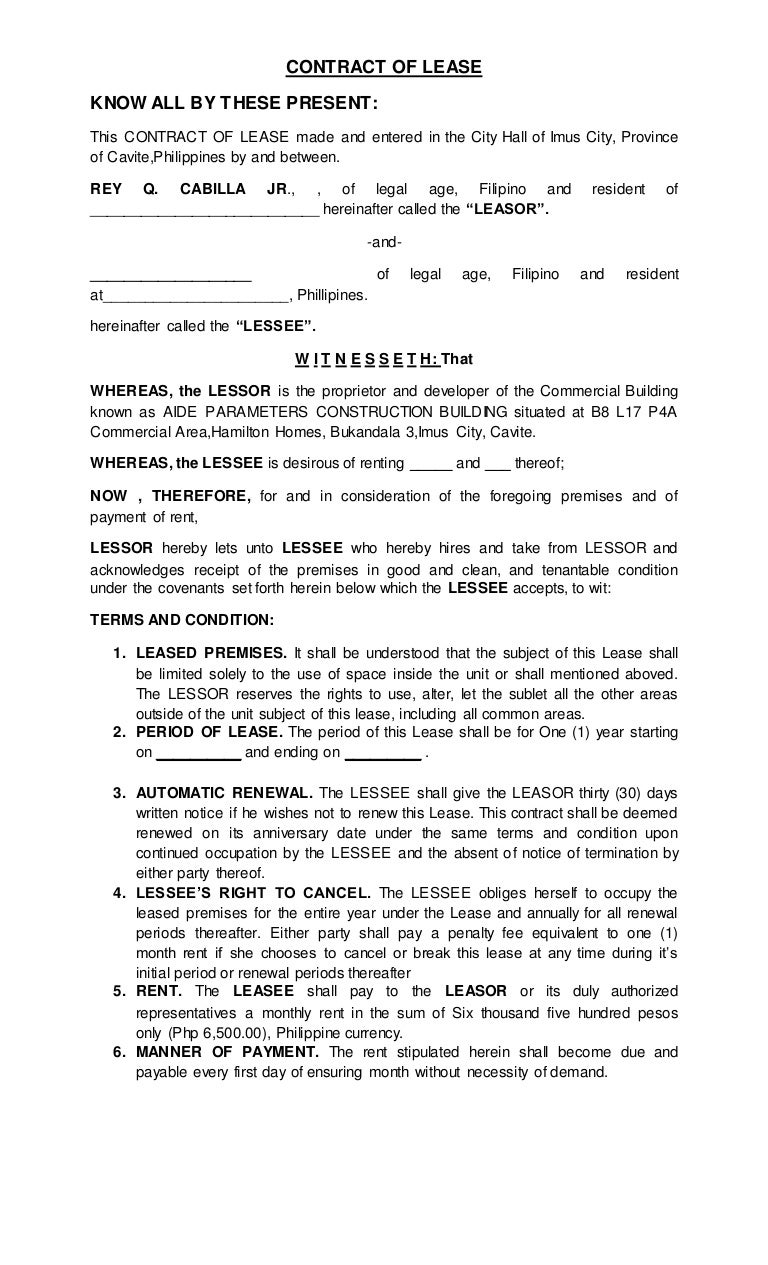 Contract Of Lease 1
