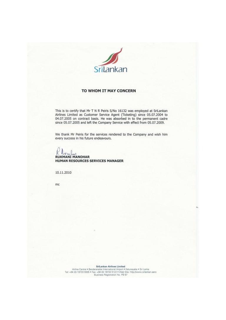 Srilankan Service Letter
