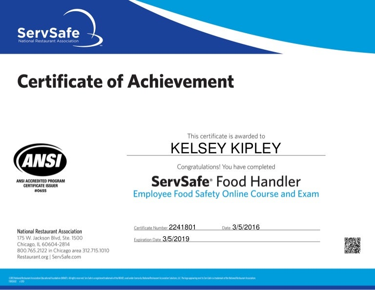 Servsafe Food Handler Certificate