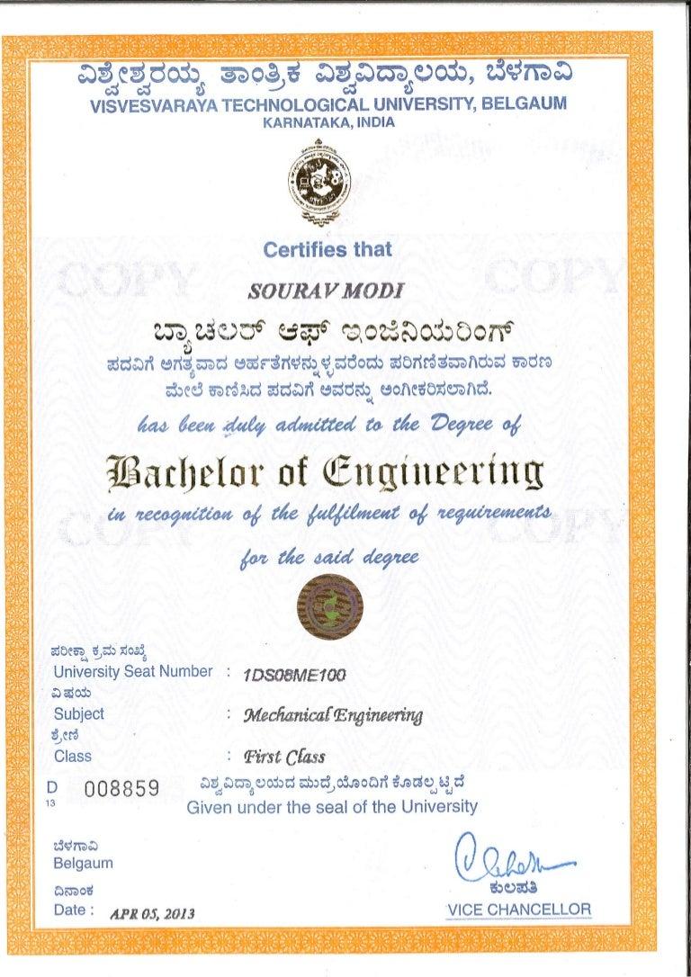 dsi b e degree certificate