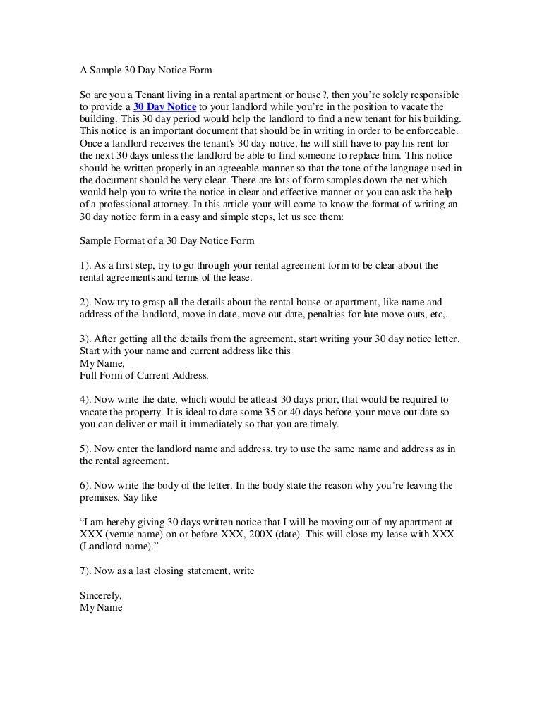 apt 30 day notice letter - Mersn.proforum.co