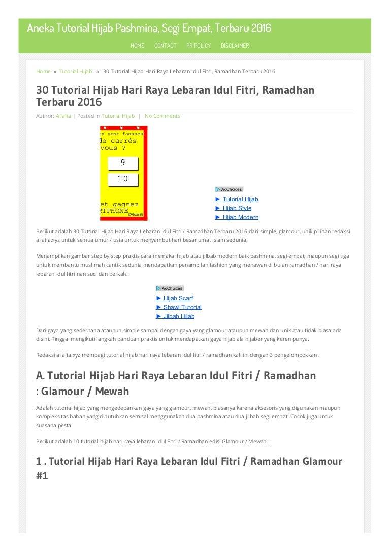 30 Tutorial Hijab Hari Raya Lebaran Idul Fitri Ramadhan Terbaru 2016